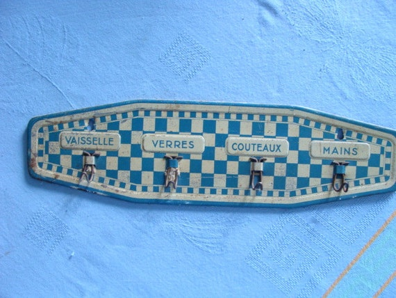 """French Antique Kitchen Towel Rack, Painted Tole, 1920""""s"""