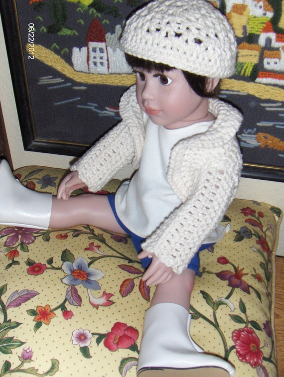 Doll sweater or shrug and hat in crochet for 18 inch doll in off white free shipping 48 contiguous states
