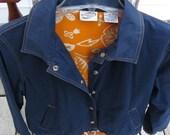 Nautical Blue Windbreaker Orange Detail Stitching and Orange Lining Vintage Womens 80s Jacket