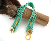 Woven Bracelet: Daffodils Are Spring with painted yellow in turquoise green with gold