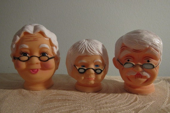 """Seven, Assorted, Vintage, Grandma and Grandpa Doll Heads - Reserved for """"H"""""""