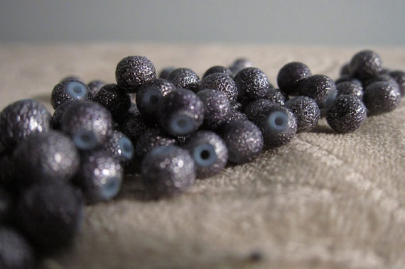 Glass Beads in Dark Metallic Pewter with Textured 'Bumps' of the same color - Fifty (50) Beads