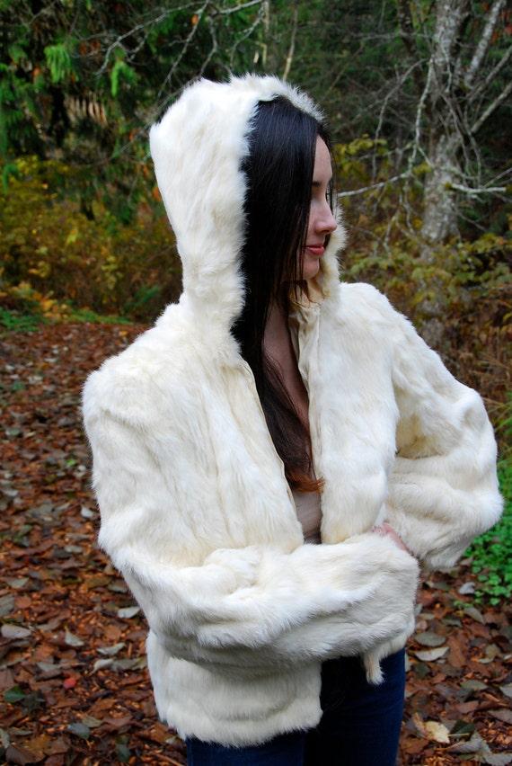 Stunning Vintage Hooded White Rabbit Fur Jacket