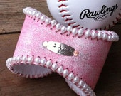 Baseball Cuff Bracelet...Sporty Pink Feminine Bracelet...Personalized Hand Stamped...Repurposed