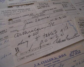 Dozen 1960s Doctor's Prescriptions- Mad Men- Mod Medical