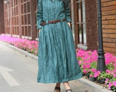Linen Pleated Maxi Trench Coat Dress in Winter - Custom - Made