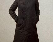 Black Long Winter Coat with Hoodie - Custom - Made