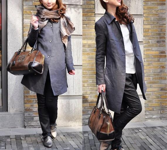 Linen Trench Coat Jacket in Grey - Custom Made