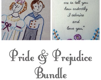 Pride & Prejudice Bundle - Set of 2 Embroidery Patterns PDF - Includes Stitch Guide - Jane Austen - Lizzie - Darcy - quote