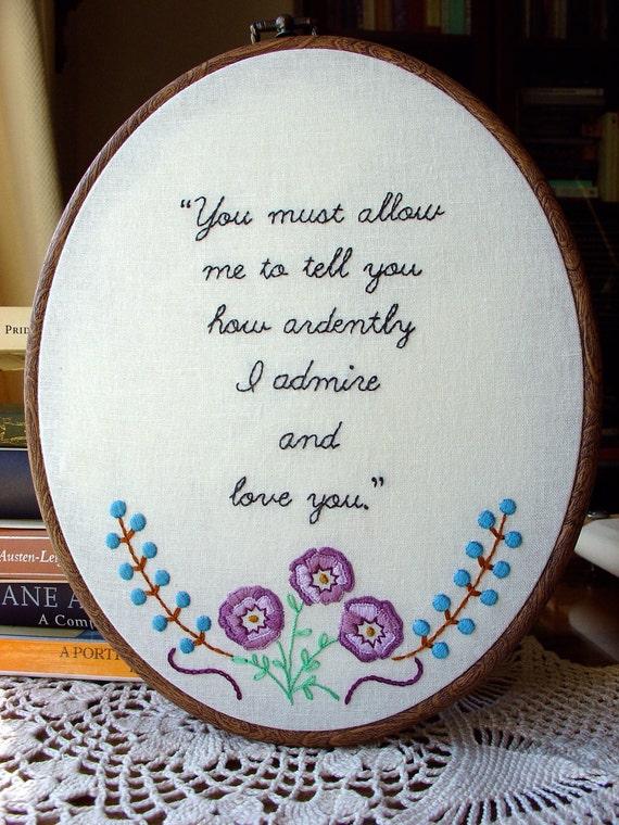 Mr. Darcy's Love - Embroidery Pattern PDF - Includes Stitch Guide - Jane Austen - Pride & Prejudice - quote