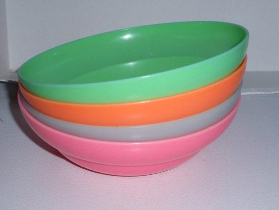 Sale 4 VINTAGE Tupperware COLORFUL Cereal Bowls Neon Orange Green Pink Pale Blue
