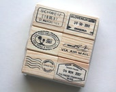 Travel stamp set - Journey wooden stamps - Set C