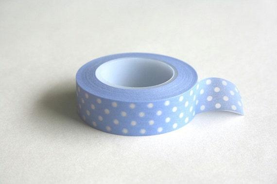 Etsy Holiday - Washi tape - masking tape - Pastel periwinkle blue polka dot - 15 meters
