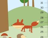 Canvas Growth Chart - Woodland Forest Friend -Powder blue