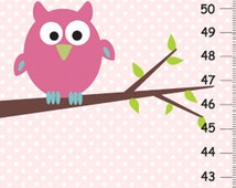 Canvas Height Chart- pink owl