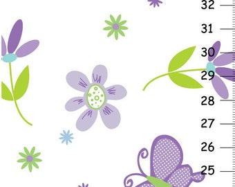 Persenolized Canvas Growth Chart - Butterfly garden party purple