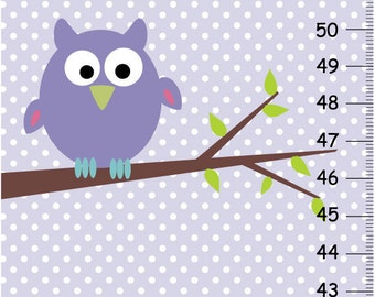 Personalized Purpel Owl Canvas Growth Charts for girls
