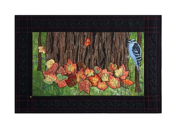 Quilted Fall Wall Hanging, Fiber Art Quilt, Leaves