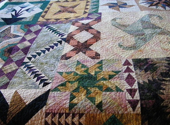 Queen size bed quilt beautiful sampler design