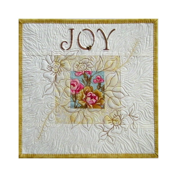 """Quilt, wall hanging, """"JOY"""",  Shabby Chic"""