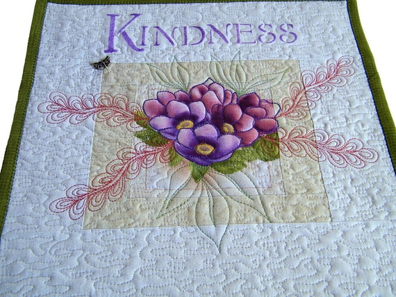 Wall Hanging Quilt, Art, Word Quilt, Kindness