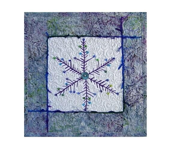 Mini Wall Hanging Quilt, Fiber Art, Snowflake