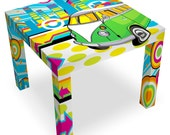Hippie Bus Coffee Table with Colorful Graphics