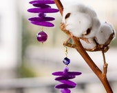 Handmade Felt Luxury/Flexible Violet Earings Decorated With Swarovski And Mountain Crystals