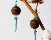 Summer Sale. Use Discount Code SUMMERSALE9 to save 10 percent. Handmade Felt Brown Balls Earings Decorated With Turquoise and Czech Beads