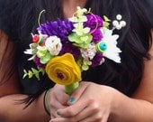 Unique Fake Flower Wedding Bridemaids Bouquet - Customizable
