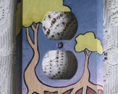 Tree and Roots Hand Painted Wood Outlet Cover