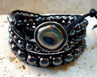 Hematite Mix with Antique Silverfinish Button Beaded Leather Wrap Bracelet