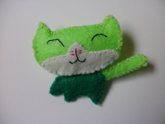 sale- Patsy the Green Cat pin