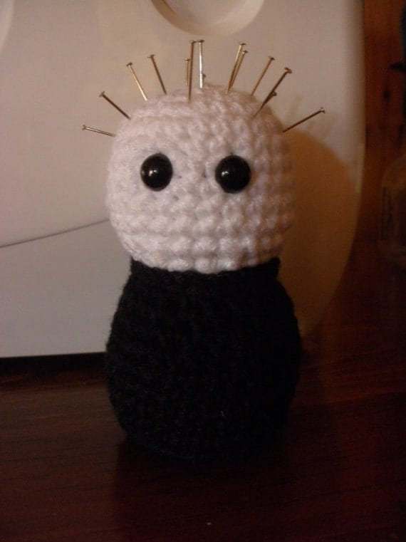 hand crocheted pinhead pincusion
