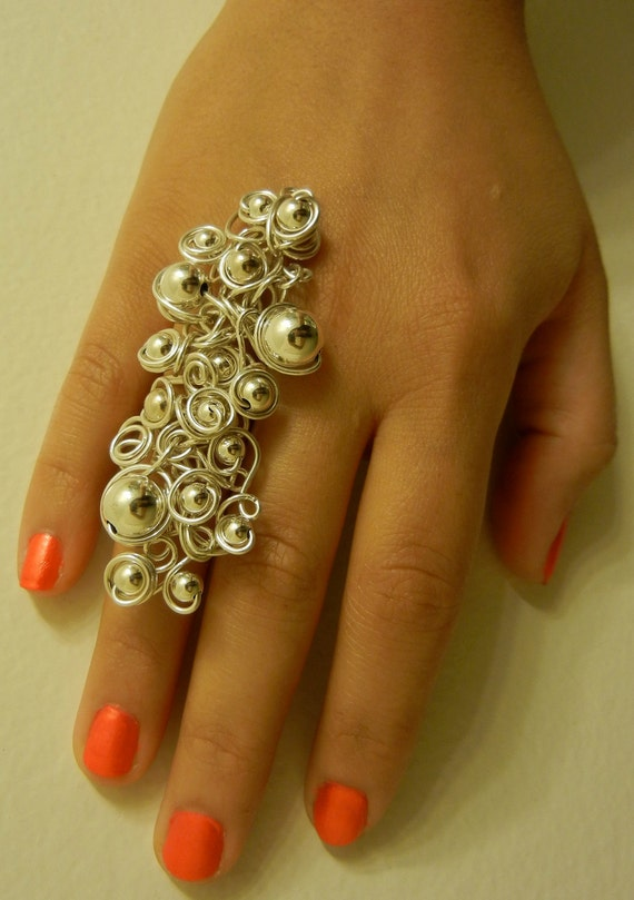Statement Ring- Sterling Silver with sterling silver beads
