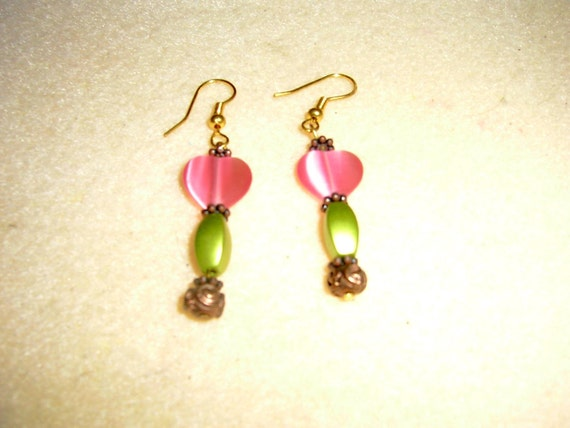 Pink Hearts and brushed olive green bead earrings