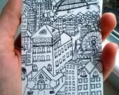 Cityscape Village Skyline ACEO Artist Trading Card