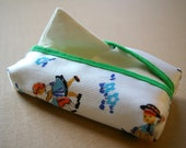 Pocket Tissue Case / Retro Flowers and Dancing boy & girl / White, Blue and Orange