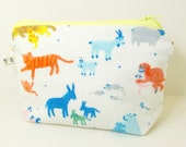 Happy Animals Pouch / Rabbits, Crocodiles, Tigers, Monkeys, Horses and many more / Pastel colored Recycled Fabric with light Yellow zipper
