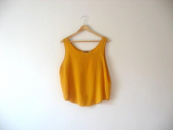 vintage yellow silk blouse // beach summer fashion //  gold sleeveless shirt