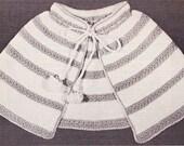 Vintage Crochet Pattern Little girl Summer Capelet Cape PDF Sz 4-6