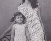 Vintage Crochet Ruffle Little girl & mom dress PDF Pattern