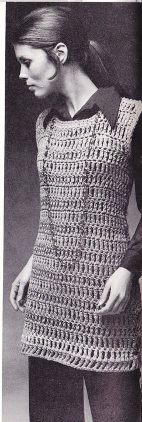 1970's Vintage Crochet Hippie Tank Dress PDF Pattern Sz S,M,L
