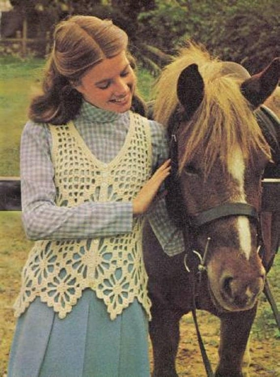 Vintage Crochet Woman's White Mesh Top PDF Pattern
