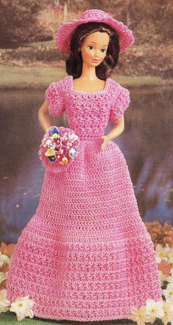Vintage Crochet Bridesmaid Barbie Doll Dress By