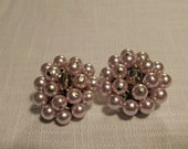 Lilac Pearl Cluster Clip-On Earrings