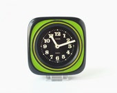 Vintage wall clock West German pottery ceramic green black neon Europa Made in Germany Mid-Century 60s 70s