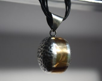 "PENDANT Sterling Silver 925 ""Bubbles"" with brass, one of a kind, handmade, hand hammered, contemporary design."