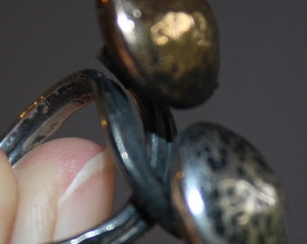 "RING Oxidized Silver and Copper hand made hand hammered ring "" Sun and moon""- very contemporary and cool."