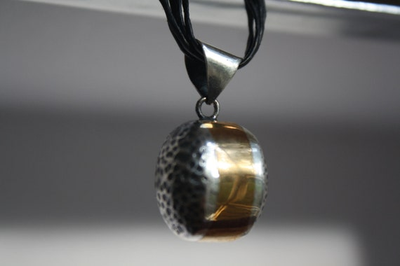 """PENDANT Sterling Silver 925 """"Bubbles"""" with brass, one of a kind, handmade, hand hammered, contemporary design."""